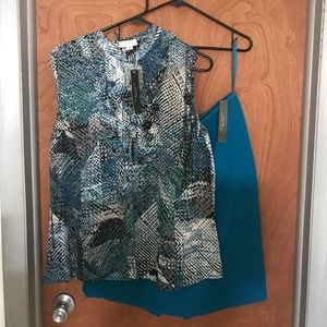 Blue/Green tone patterned blouse